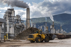 Industrial scene. Smoke and clouds, normal working day Royalty Free Stock Photography