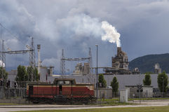Industrial scene. With train and stormy sky Royalty Free Stock Photography