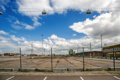 Industrial Scenery, Empty Factory Parking Lot Stock Image