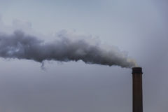 Industrial scenery with smoke from coal power plant Royalty Free Stock Image