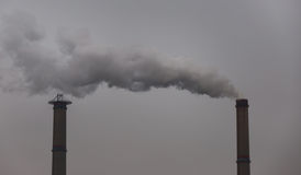 Industrial scenery with smoke from coal power plant Stock Photo