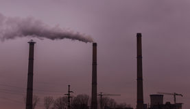Industrial scenery with smoke from coal power plant Royalty Free Stock Photo