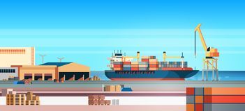 Industrial sea port cargo logistics container import export freight ship crane water delivery transportation concept. Shipping dock flat horizontal vector royalty free illustration