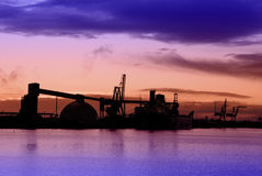 Industrial Sea Port At Dusk Royalty Free Stock Photography