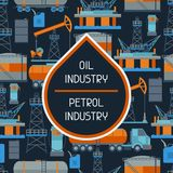 Industrial seamless pattern with oil and petrol. Icons. Extraction and refinery facilities Royalty Free Stock Photography