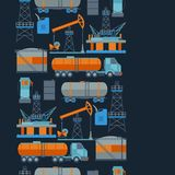 Industrial seamless pattern with oil and petrol. Icons. Extraction and refinery facilities Royalty Free Stock Image