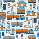 Industrial seamless pattern with oil and petrol. Icons. Extraction and refinery facilities Royalty Free Stock Photo