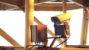 Industrial security camera CCTV stock video footage