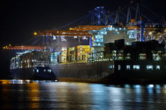 Industrial ship. At night with light Royalty Free Stock Images
