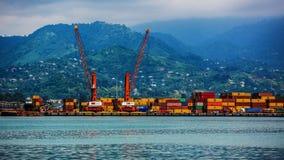 Industrial ship in Batumi port at dusk. Georgia Stock Images