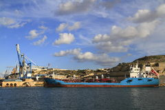 Industrial Ship in the Grand Harbour of Valletta Stock Images