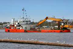 Industrial Ship On Dredging Works Stock Images