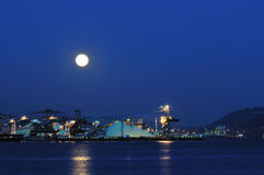 Industrial ship yard at Burrard inlet under moonli Royalty Free Stock Photo
