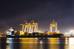 Industrial Shipping Port. At Night Stock Images