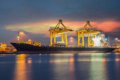 Industrial shipping port in Bangkok, Thailand.  stock photos