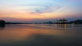 Industrial shipping port at dawn, Bangkok Stock Photos