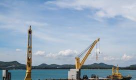 Industrial shipyard yellow crane Royalty Free Stock Photos