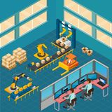 Industrial Shop Floor Composition. Industrial machines isometric composition with indoor view of shop floor with packaging conveyor and operating console vector Stock Photo