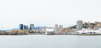 The industrial side of the harbor in Genoa, Italy. Royalty Free Stock Photo