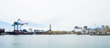The industrial side of the harbor in Genoa, Italy. Stock Images