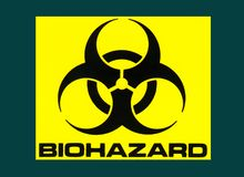 Industrial Sign - Biohazard Symbol - Medical Science. Industry - Biohazard Symbol used in Scientific laboratories stock photo