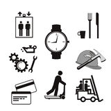Industrial sign icons, helmet, ax, gear, Stock Photography
