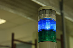 Industrial signal lights. Industrial signal LED lights on an electronic equipment factory Stock Image