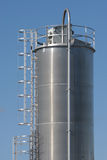 Industrial Silo. Large stainless steel industrial silo at a food processing plant Stock Image