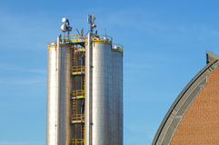 Industrial silos for chemical production, by stainless steel Royalty Free Stock Photos