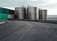 Industrial silos. Oil storage silo Stock Photos