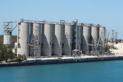Industrial Silos by the port Royalty Free Stock Photos