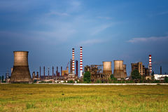 Industrial site - landscape of oil refinery royalty free stock photography