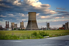 Industrial site - refinery with large towers Royalty Free Stock Image