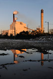 Industrial Site With Smokestacks Royalty Free Stock Image