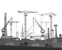 Industrial site view with cranes. Heavy industry Royalty Free Stock Photos