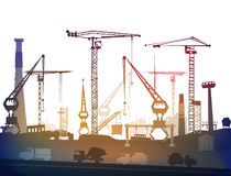 Industrial site view with cranes. Heavy industry Stock Photos