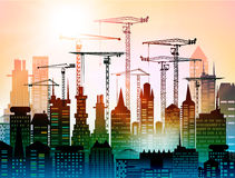 Industrial site view with cranes. Heavy industry. Background stock illustration
