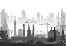 Industrial site view with cranes. Heavy industry background Royalty Free Stock Photo
