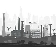 Industrial site view with cranes. Heavy industry background Royalty Free Stock Photos