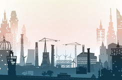 Industrial site view with cranes. Heavy industry background. Illustration Royalty Free Stock Photos