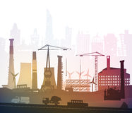Industrial site view with cranes. Heavy industry background Royalty Free Stock Photography