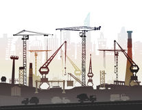 Industrial site view with cranes. Heavy industry background Royalty Free Stock Images