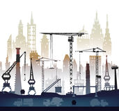 Industrial site view with cranes. Heavy industry background. Illustration royalty free illustration