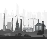 Industrial site view with cranes. Heavy industry background Stock Images