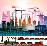 Industrial site view with cranes. Heavy industry background Stock Image