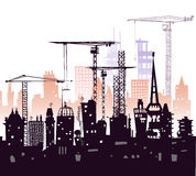 Industrial site view with cranes. Heavy industry, City background. Industrial site view with cranes. Heavy industry background royalty free illustration