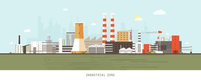 Industrial site or zone with factories, manufacturing plants, power stations, warehouses, cooling towers against city. Buildings on background. Flat cartoon Royalty Free Stock Images