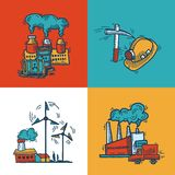 Industrial sketch banner design Royalty Free Stock Photography