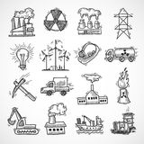 Industrial sketch icon set. With oil fuel electricity and energy industry symbols isolated vector illustration Stock Photos
