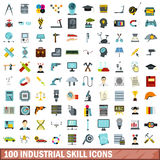 100 industrial skill icons set, flat style. 100 industrial skill icons set in flat style for any design vector illustration Royalty Free Stock Image